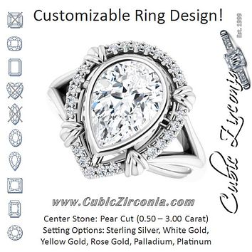 "Cubic Zirconia Engagement Ring- The Leontine (Customizable Pear Cut Design with Split Band and ""Lion's Mane"" Halo)"