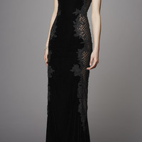 Velvet Embroidered Gown | Moda Operandi
