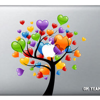 colorful love tree macbook decal,Decal for Macbook Pro/Air/Ipad,Stickers,Macbook Decals,Apple Decal for Macbook Pro / Macbook Air/laptop