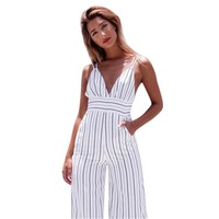 Striped Calf-Length Jumpsuit