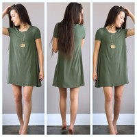 An Olive Swing Dress