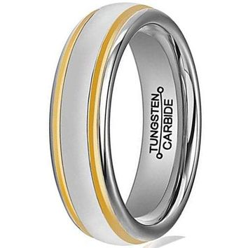 6mm Tungsten Carbide Ring Simple Style Gold Plated Unisex Wedding Engagement Band