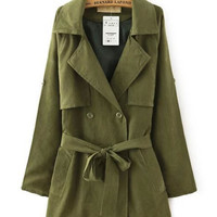 Notched Collar Cape Accent with Belt Trench Coat