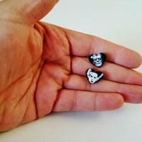 Frankenstein & Bride Tiny Heart Stud Earrings