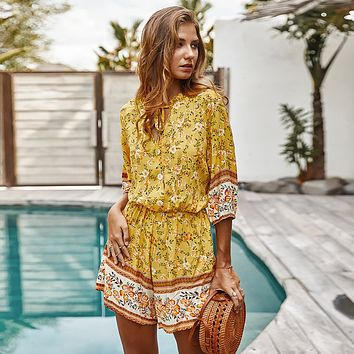 Hippie Floral Print Playsuit 3/4 Sleeve V Neck Vintage Jumpsuits 2020 Summer Beach Casual Overalls Boho Romper Women Playsuits