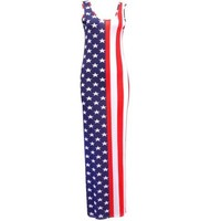 Crazy Girls Womens USA American Flag Stars & Stripes Leggings Bralet Maxi