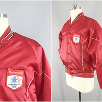 1980s Vintage / 1984 Olympics Budweiser Jacket / A & Eagle Collection / Red Satin Bomber Jacket / Los Angeles Olympics / Size XL 48 / USA