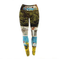 "Angie Turner ""Hippie Bus"" Blue Yellow Yoga Leggings"