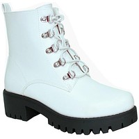 Billy White Combat Boots