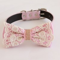 Pink Lace Burlap Dog Bow Tie collar, Pink Lovers, Handmade dog collar M to XXL collar, adjustable, proposal, dog ring bearer , Wedding dog collar
