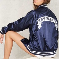 Stay Cute Try Harder Bomber Jacket