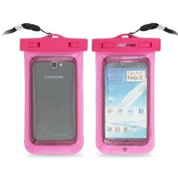 H2O VIBE TM Universal Waterproof Case for use with Apple iPhone 4S, 5, Galaxy S3, S4, Note 1, 2, HTC One, Blackberry Z10, Q10, IPX8 Certified to 100 Feet - Pink