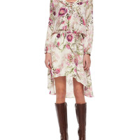 Long-Sleeve Lace-Up Floral-Print Dress, Size: