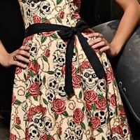 Folter Clothing STRAPLESS FOREVER YOURS DRESS in Skull Rose Tattoo Flash Print