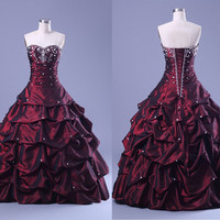 Vintage Layered design strapless long Prom dress, Embroidery Dark Purple Ruffled Skirt Ball Gown