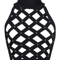 Karlisle Black Lattice Cut Out Crop Top