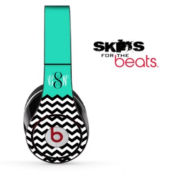The Teal-Black & White Chevron Pattern Skin for the Beats by Dre Solo, Studio, Wireless, Pro or Mixr