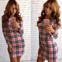 Pink Plaid Print Round Neck Long Sleeve Mini Dress
