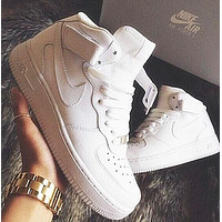NIKE Air Force Popular Women Men Leisure High Help Running Sport Shoes Sneakers White I