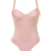 'Play Nice' Pink Satin Bustier Bodysuit - Mistress Rocks