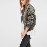 New Look Quilted Bomber Jacket at asos.com