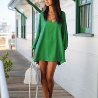 Casual Long Sleeve V-Neck Loose Mini Dress