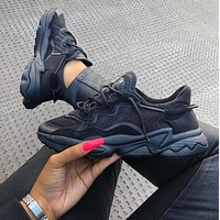 Adidas Ozweego 'Triple Black' 3M reflective vintage old shoes
