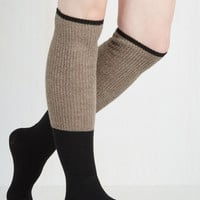 Colorblocking Knit With the Program Thigh Highs in Oat Size OS by ModCloth