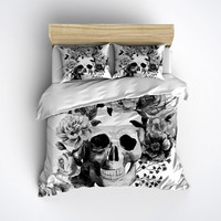 Fleece Black and White Watercolor Style Skull Bedding - Duvet Cover, Sugar Skull Bed Linen, Sugar Skull Bedding Set
