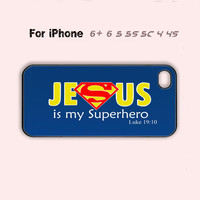Jesus is my Superhero Christian Phone Case Cute iPhone 4 4s 5c 5s 5 6 Plus New-5 Colors Available