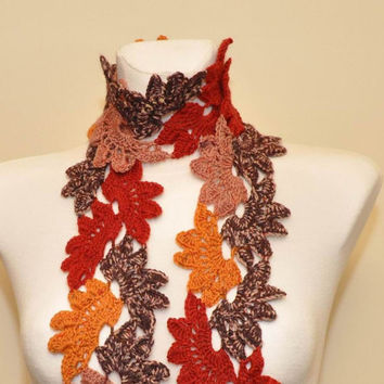 Multicolor crochet lace scarf neck warmer by aboutCRAFTS on Etsy