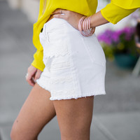 Take Me Out Crochet Denim Shorts (White)