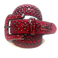 B.B. Simon Fully Loaded 'Blood Red' Pony Crystal Belt