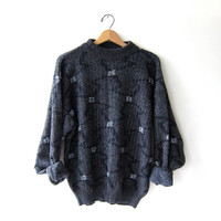 Vintage 80s abstract sweater. Bill Cosby sweater. black, gray & white knit pullover