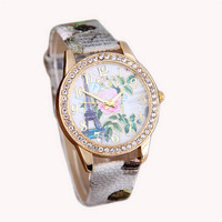 Womens Casual Sports Watches with Diamond Girls Eiffel Tower Print Leather Strap Wrist Watch Best Christmas Gift