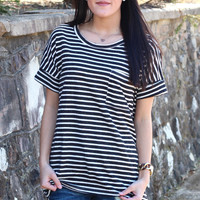 Basic Striped Pocket Tee {Black}