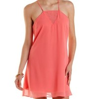 Coral Strappy Open Back Shift Dress by Charlotte Russe