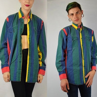 90s Striped Shirt MEN Medium Large Soft Grunge Hipster Vertical Striped Vintage Mens Clothing Womens Unisex Green Yellow Blue Red Collar