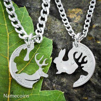 His Bunny and Her Buck Country Couples necklaces by Namecoins