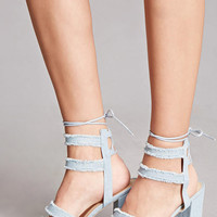 Yoki Denim Ankle-Wrap Heels