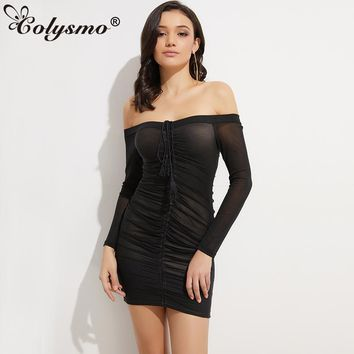 Colysmo Off Shoulder Lift Up Long Sleeve Women Autumn Dress Drawstring Sexy Mini Club Party Ruched Mesh Winter Bodycon Dresses
