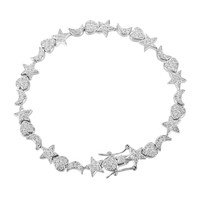 Heart Moon Star Bracelet Iced Out Ladies Simulated Diamonds