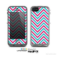 The Blue & Pink Sharp Chevron Pattern Skin for the Apple iPhone 5c LifeProof Case
