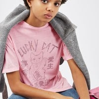 Lucky Cat Destroyed T-Shirt - Tops - Clothing
