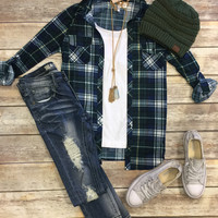 Penny Plaid Flannel Top: Green/Blue