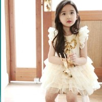 Cream Ruffle Summer Dress for Kids in India with Shimmery Bodice