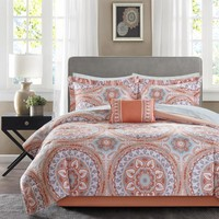 Mallorie Complete Bed in a Bag Boho Medallion Coral Comforter Set