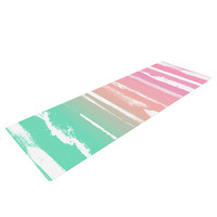 """Anneline Sophia """"Painted Stripes Pink"""" Green Pink Yoga Mat"""