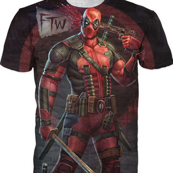 2016 New Arrive American Comic Badass Deadpool T-Shirt