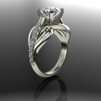 Forever Brilliant Moissanite and Diamond Engagement Ring 1.85 CTW
